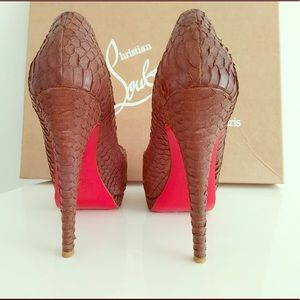 Shoes - Christian Louboutin Brown Suede Snake Skin PeepToe